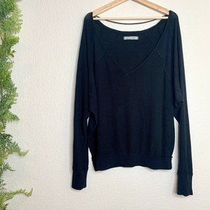 Free People We The Free V-Neck Sweater Black Knit